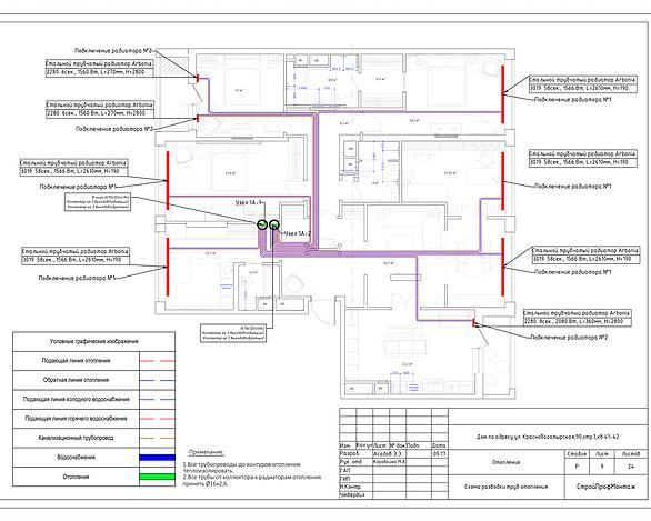 Проект отопления. Схема разводки труб отопления и радиаторов.