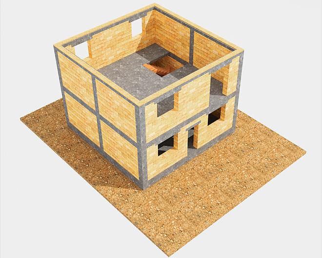 """Возведение """"коробки"""" дома. Для начала кровельных работ необходимы несущие стены здания (по любой строительной технологии)."""