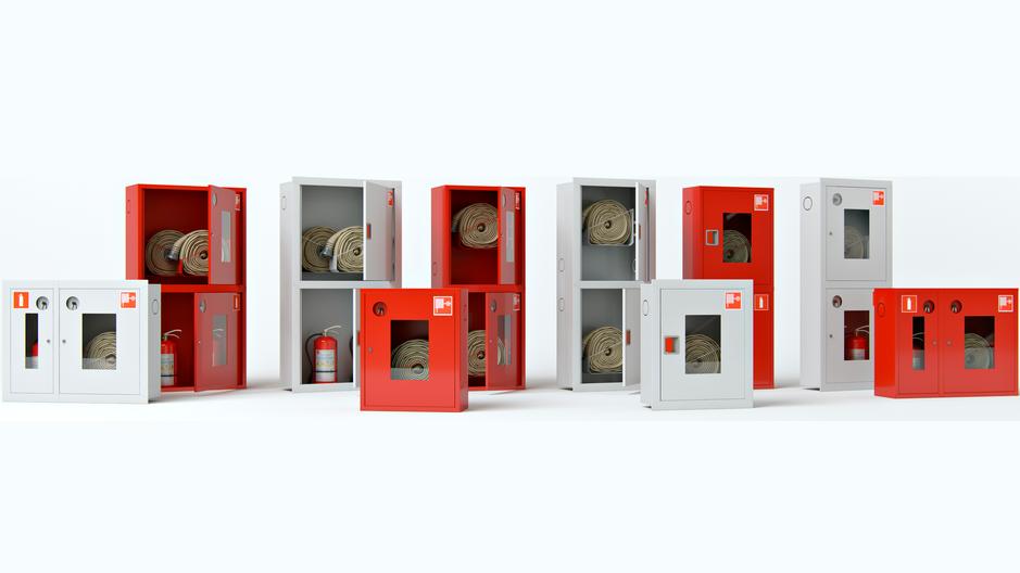 Встраиваемые и навесные шкафы для пожарных кранов.