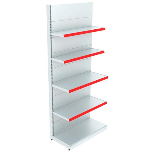 Популярные секционные торговые стеллажи, с изменяемыми комплектами полок и перфорированными стенками для размещения крючков-подвесов.