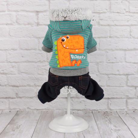 Комбинезонсостоит из штанишек под джинсы и мягкой курточки с изображением веселого динозаврика. подходит для осени и весны.
