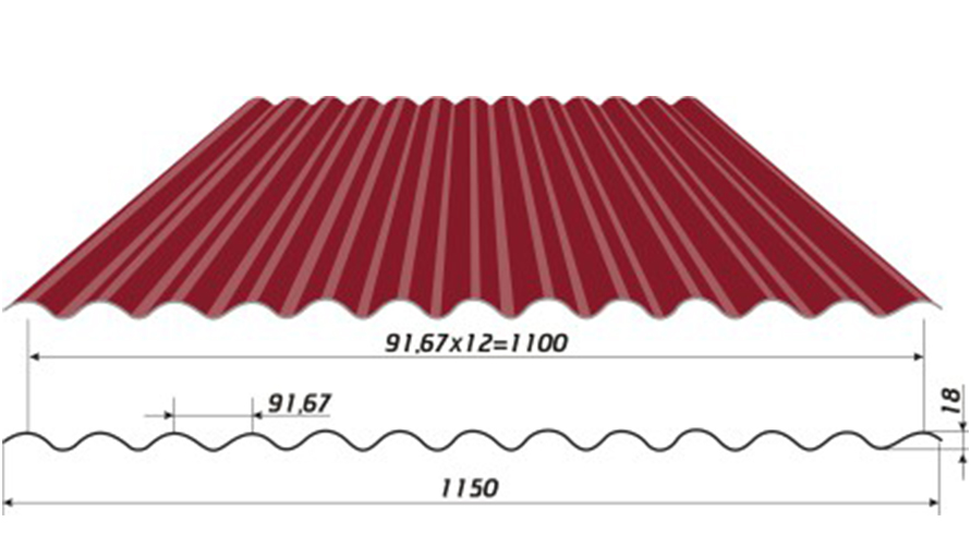 Профнастил МП18 (кровельный, стеновой)