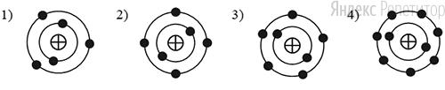 На рисунке изображены модели четырёх нейтральных атомов. Чёрными кружочками обозначены электроны. Атому изотопа азота ... соответствует модель