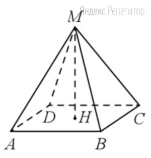 Найдите объём правильной четырёхугольной пирамиды, сторона основания которой равна ..., а боковое ребро равно ....