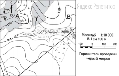 Постройте профиль рельефа местности по линии A—B.