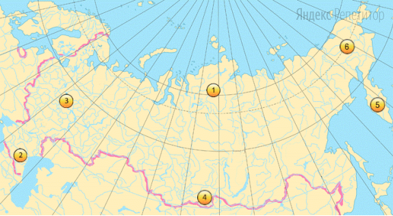 Какие три из обозначенных на карте России территории имеют наименьшую среднюю плотность населения?