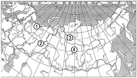 Установите соответствие между рекой и её расположением на карте, обозначенным цифрой.