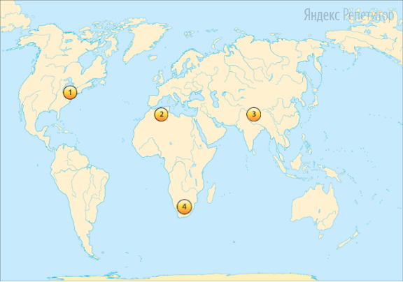 Установите соответствие между горной системой (обозначено буквами) и ее обозначением на карте (обозначено цифрами).