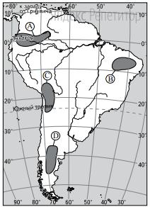 На какой из территорий, обозначенных буквами на карте Южной Америки, среднегодовое количество атмосферных осадков наибольшее?