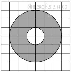 На клетчатой бумаге нарисованы два круга. Площадь внутреннего круга равна 6.