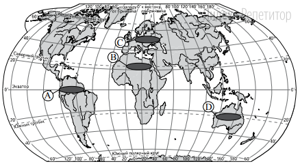 Какой из регионов, обозначенных буквами на карте мира, является наиболее густонаселённым?