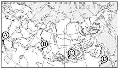 В каком из городов, обозначенных буквами на карте России, зима наиболее теплая?