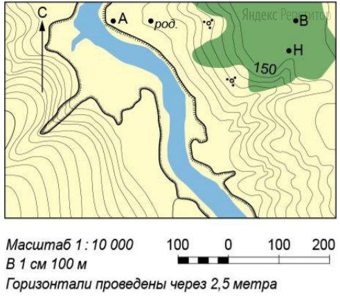 Определите азимут, по которому надо идти от точки H до точки A, если она расположена на 10° севернее направления на запад.