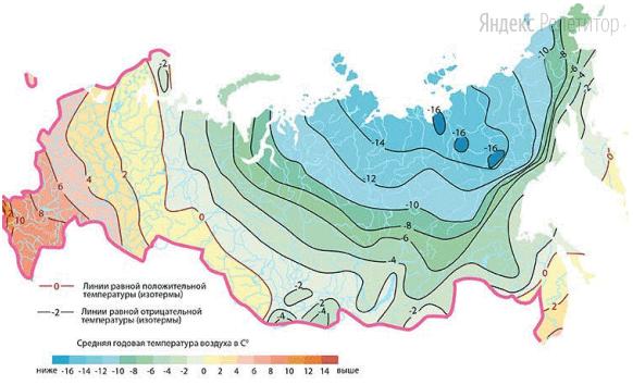 С помощью карты сравните значение среднегодовой температуры в перечисленных объектах, расположенных на территории России.
