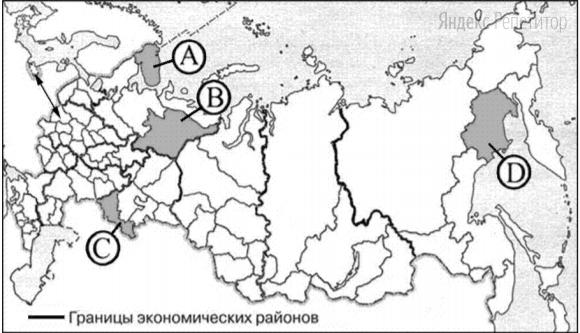 Какой из регионов, обозначенных буквами на карте России, имеет наибольшую среднюю плотность населения?