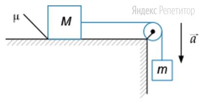 На рисунке показана система грузов, связанных невесомой нерастяжимой нитью, перекинутой через гладкий невесомый блок. Груз массой ... движется с постоянным ускорением ... вниз.