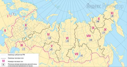 В соответствии с Законом о возврате к «зимнему» времени с ... октября ... года на территории страны установлено ... часовых зон (см. карту).