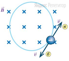 Определите направление скорости движения отрицательно заряженной частицы, которая в магнитном поле, направление линий индукции которого показано на рисунке, движется по показанной на рисунке окружности.