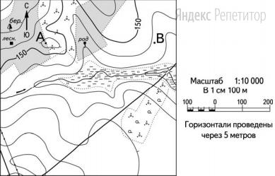 Выполните задание с использованием приведённого ниже фрагмента топографической карты.