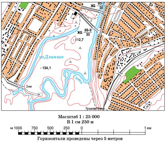 Определите по карте азимут от моста через озеро Длинное на южный мост через речку Соть.