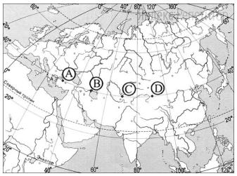 Определите, в каком из пунктов, обозначенных буквами на карте Евразии, ... августа Солнце будет находиться ниже всего над горизонтом в ... часов по солнечному времени Гринвичского меридиана.