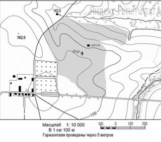 Определите по карте расстояние на местности по прямой от родника на высоте ... до вершины ... м. Полученный результат округлите до десятков метров.