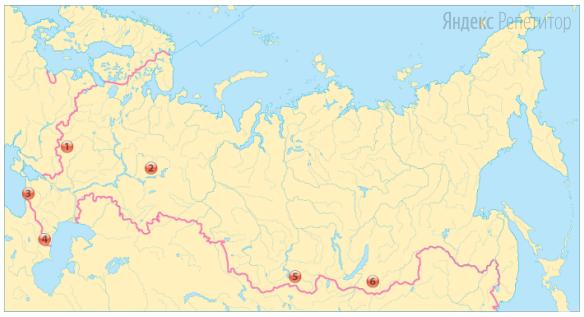 Какие три обозначенных на карте России территории имеют наивысшую плотность сельского населения?
