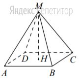Найдите объём правильной четырёхугольной пирамиды, сторона основания которой равна ... а боковое ребро равно ...