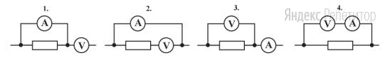 Для определения мощности постоянного электрического тока, выделяющейся в резисторе, использовали идеальные амперметр и вольтметр.