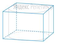 Прямоугольный параллелепипед описан около цилиндра, радиус основания которого равен ... Объем параллелепипеда равен ...