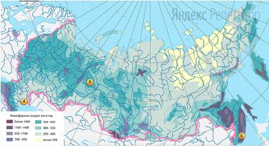 С помощью карты сравните среднегодовые значения количества осадков в точках, обозначенных на карте.