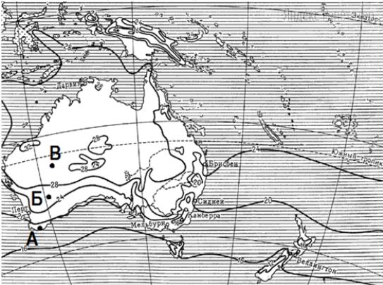 С помощью карты сравните среднюю температуру воздуха в январе в точках, обозначенных на карте буквами А, Б, В.