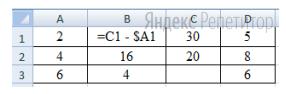 Дан фрагмент электронной таблицы. Из ячейки ... в ячейку ... была скопирована формула. При копировании адреса ячеек в формуле автоматически изменились.