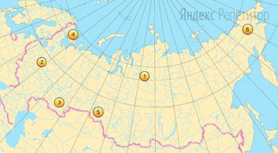 Какие три из отмеченных на карте территорий имеют самую низкую плотность населения?