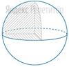 У шара радиусом ... см убрали ... часть объема, как показано на рисунке.