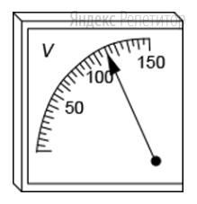 При помощи вольтметра, изображенного на рисунке, измеряется напряжение в некоторой электрической цепи.