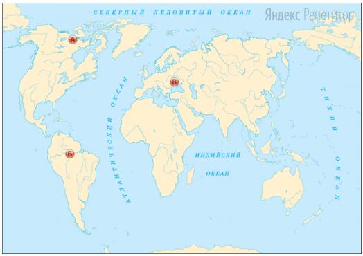 Установите соответствие между точкой, обозначенной на карте мира (обозначено буквами), и средней температурой самого тёплого месяца года июля (обозначено цифрами).