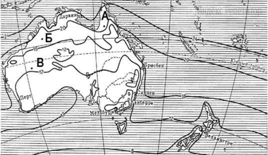 С помощью карты сравните среднюю температуру воздуха в июле в точках, обозначенных на карте буквами ...