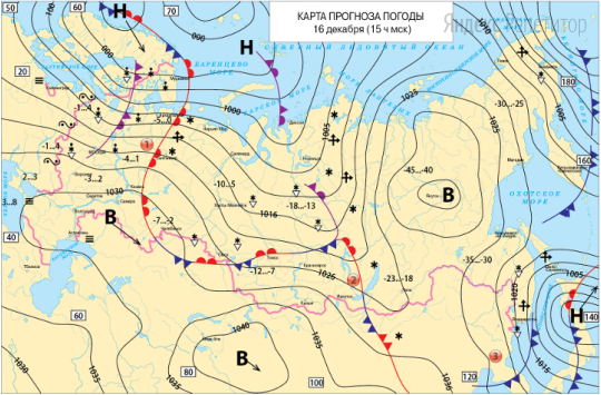 Анализируя карту прогноза погоды на ... декабря, сравните количество осадков в точках, обозначенных на картах цифрами ... и ...