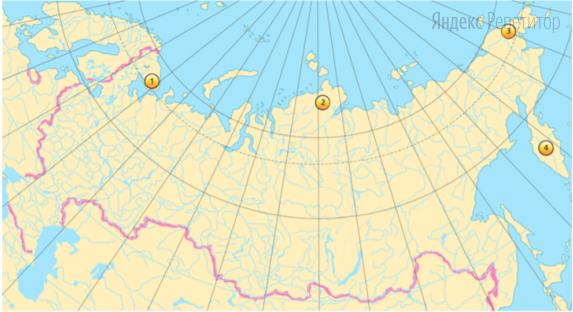 Установите соответствие между полуостровом (обозначено буквами) и его расположением на карте (обозначено цифрами).
