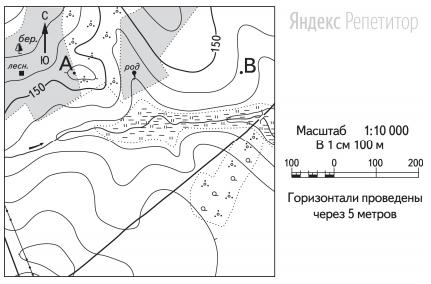 Определите по карте расстояние на местности по прямой от родника до дома лесника.