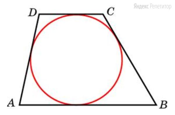 Около окружности описана трапеция, периметр которой равен 40.