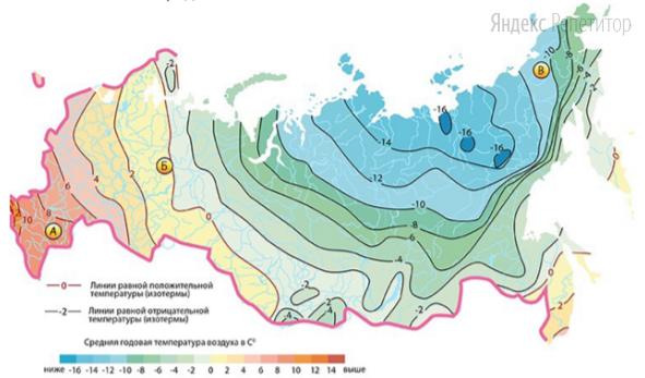 С помощью карты сравните среднюю температуру в указанных точках.