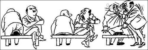 На рисунках датского карикатуриста Х. Бидструпа изображена реакция человека, на шляпу которого сел случайный прохожий. Определите по внешней реакции человека тип его темперамента.
