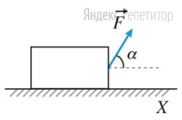 Брусок массой ... г, находящийся на горизонтальной поверхности, движется равномерно со скоростью, модуль которой равен ... м/с, под действием постоянной силы, модуль которой равен ... H, направленной под углом ... к горизонту.
