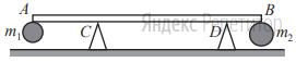 Два небольших шара массами ... кг и ... кг закреплены на концах невесомого стержня ... расположенного горизонтально на опорах ... и ... (см. рисунок). Расстояние между опорами ... м, а расстояние ... равно ... м.
