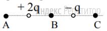 На рисунке показано расположение двух неподвижных точечных электрических зарядов ... и ...