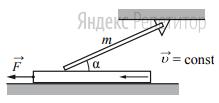 Однородный тонкий стержень массой ... кг одним концом шарнирно прикреплён к потолку, а другим концом опирается на массивную горизонтальную доску, образуя с ней угол ... Под действием горизонтальной силы ... доска движется поступательно влево с постоянной скоростью (см. рисунок). Стержень при этом неподвижен.
