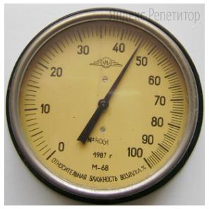 Ученик проводит измерения влажности воздуха в классе при помощи гигрометра. Шкала и показания гигрометра приведены на рисунке. Погрешность измерений равна цене деления данного прибора.