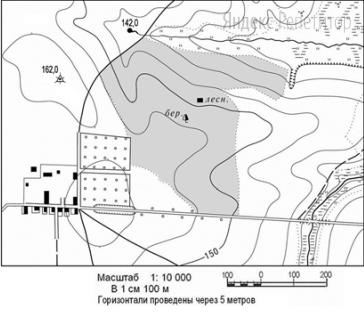 Определите по карте расстояние на местности по прямой от геодезического знака ... до дома лесника.